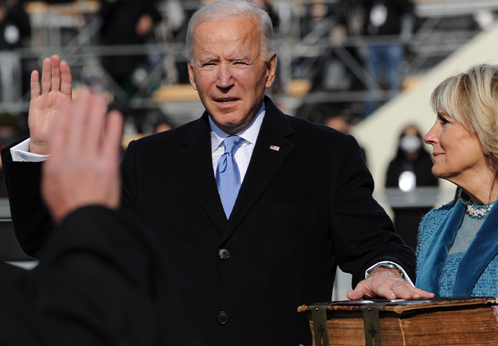 Joe Biden taking the oath of office to become the 46th President of the United States