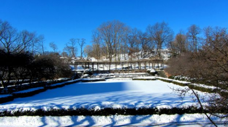Central Park's Conservatory Garden in a January freeze.