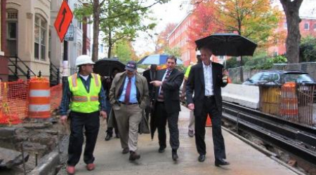 Jack Evans and DDOT officials tour rehab project