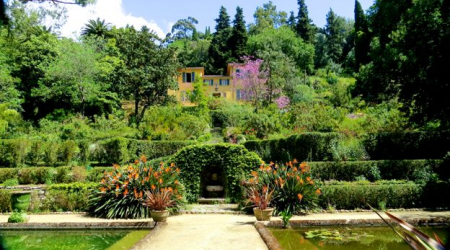 The villa at Serre de la Madone presides above the beautiful gardens created by Lawrence Johnston.